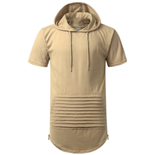 Mens Side Zippers Front Kangaroon Pouch Pockets Short Sleeve Hoodie