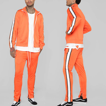 Apparel Design Services Custom Contrast Side Stripe Zip Up Branded Tracksuits for Men