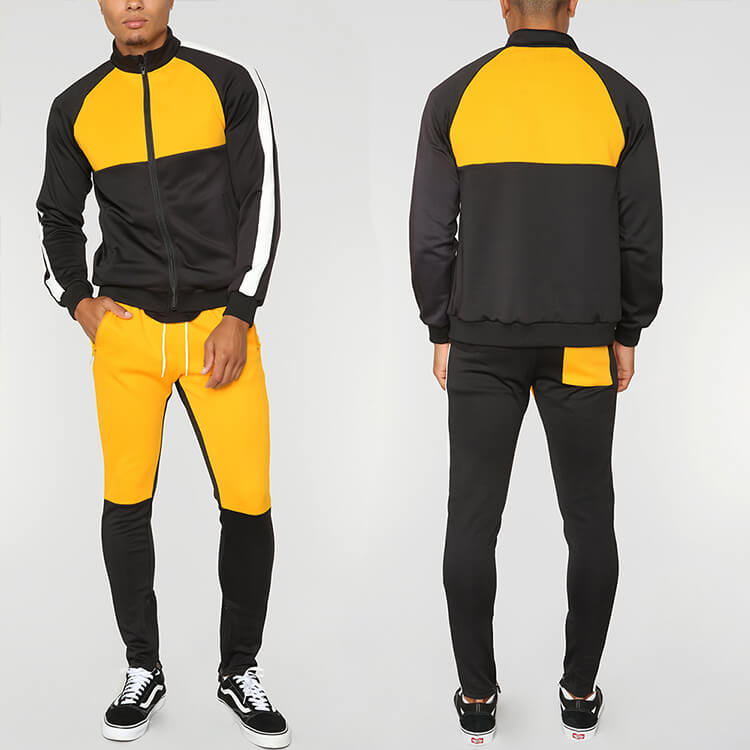 Contrast Raglan Sleeve Track Jacket And Pants Set Color Block Custom Mens Tracksuits